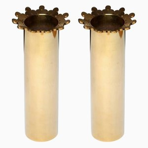 Brass Crown Vases by Pierre Forssell for Skultuna, 1979, Set of 2