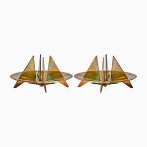 Candeleros redondos de latón de Pierre Forssell para Skultuna, años 70. Juego de 2