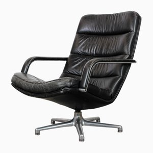 F141 Black Leather Lounge Chair by Geoffrey Harcourt for Artifort, 1970s