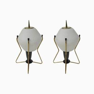 Lámparas de mesita de noche italianas de latón, vidrio escarchado y baquelita, años 50. Juego de 2