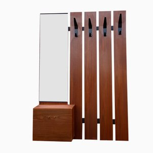 Mid-Century Wall-Mounted Coat Rack with Mirror