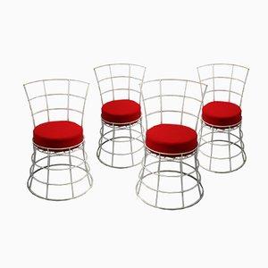 Französische Mid-Century Gartenstühle aus Draht, 4er Set