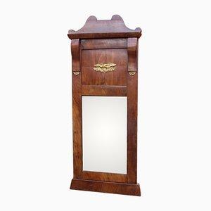 Specchio antico in mogano e foglia d'oro