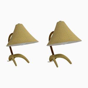 Lampade da tavolo gialle, anni '50, set di 2