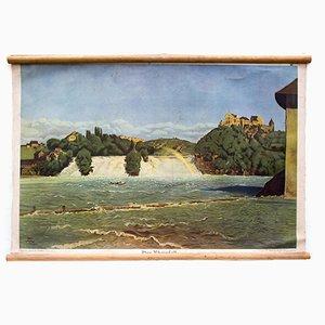 Póster educativo de la cascada del Rhin de Der praktische Schulmann, 1876