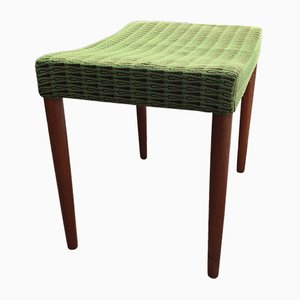 Mid-Century Teak & Green Wool Ottoman from Omann Jun, 1960s