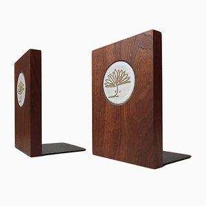 Fermalibri Mid-Century in legno di noce e ceramica di Gordon & Jane Martz per Marshall Studios, anni '50, set di 2