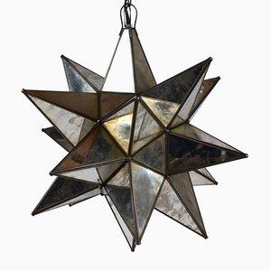 Verspiegelte Hängelampe in Sternen Optik, 1980er