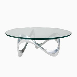 Mesa de centro de aluminio y vidrio de Knut Hesterberg para Ronald Schmitt, años 60