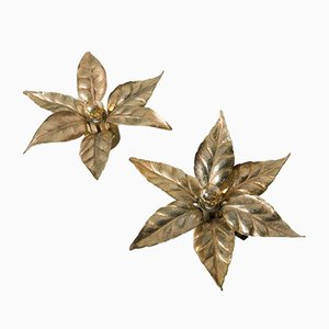 Belgian Brass Flower Wall Lights from Massive, 1970s, Set of 2