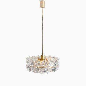 Lámpara de araña de cristal facetado y metal dorado con tres niveles de Kinkeldey, años 70
