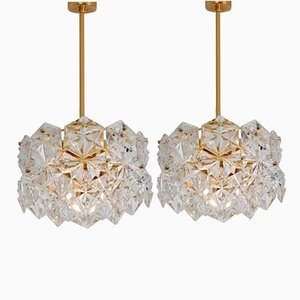 Faceted Crystal and Gilt Metal Three-Tier Chandeliers from Kinkeldey, 1970s, Set of 2