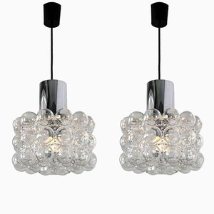 Bubble Glass Pendant Lamps by Helena Tynell for Glashütte Limburg, 1960s, Set of 2