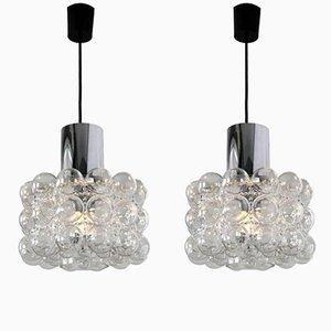 Bubble Glass Pendant Lamps by Helena Tynell for Glashütte Limburg, 1960s, Set of 2
