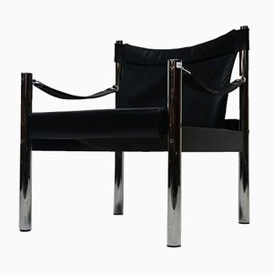 Vintage Safari Armchair in Leather and Chrome