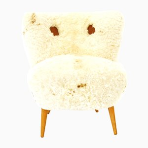 Austrian Chair with Sheepskin, 1950s