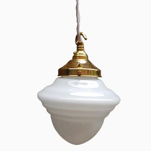 Art Deco Acorn Opaline Pendant Light