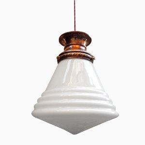 Lampe à Suspension Opaline Conique, 1920s