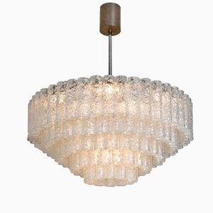 Lámpara colgante grande de cinco pisos con tubos de vidrio de Doria, años 60