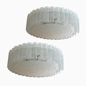 Large Clear Flush Mount Ceiling Lamps from Doria, 1960s, Set of 2