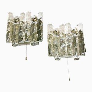 Apliques de cristal de hielo de J.T. Kalmar, años 70. Juego de 2