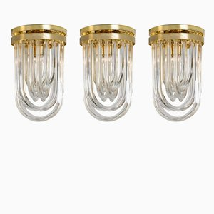 Vintage Curved Murano Glass & Gilt Brass Flush Mount Ceiling Lights from Venini, Set of 3