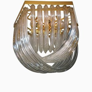 Lampada da soffitto a incasso vintage in vetro di Murano curvato di Venini
