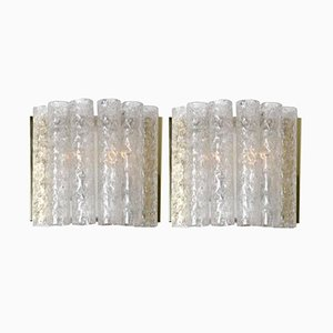 Brass and Glass Wall Lamps from Doria, 1960s, Set of 2