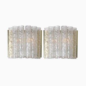 Lámparas de pared de latón y vidrio de Doria, años 60. Juego de 2