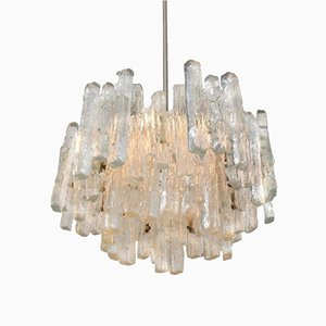 Large Three Tiered Ice Glass Pendant Light from Kalmar, 1960s