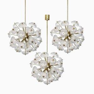 Large Brass and Glass Sputnik Lights, 1960, Set of 3