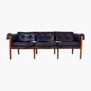 Rosewood and Leather Sofa by Arne Norell for Coja, 1960s