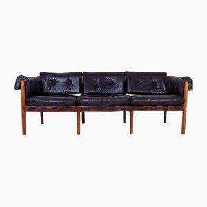 Sofá de palisandro y cuero de Arne Norell para Coja, años 60