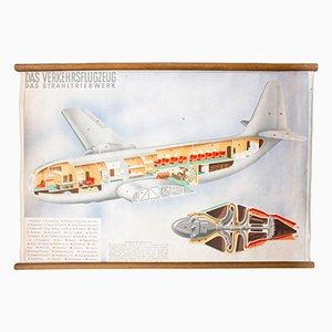 Póster educativo con avión, 1952