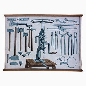 Póster educativo con herramientas para el trabajo del metal, 1929