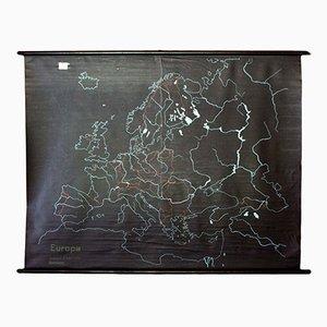 Europa Wandkarte aus Schiefer & Gummi, 1968