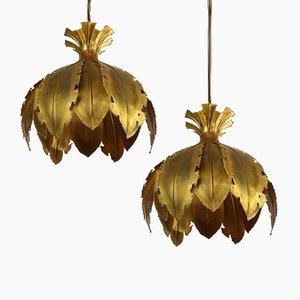 Lampes à Suspension Vintage en Laiton Traité à l'Acide par Svend Aage pour Holm Sorensen, Set de 2