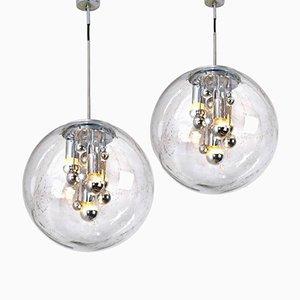 Lámparas colgantes grandes de cristal burbuja soplado de Doria, años 70. Juego de 2
