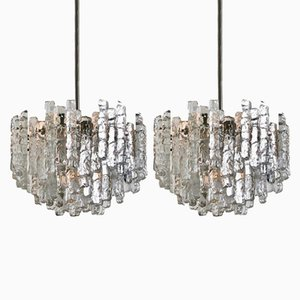 Large Modern Ice Glass Chandeliers by J.T. Kalmar, 1970s, Set of 2