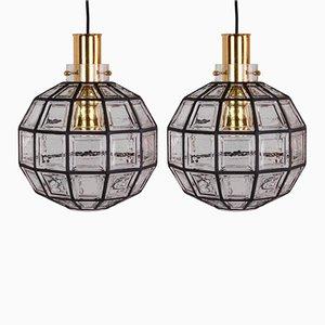 Lámparas grandes de hierro y vidrio transparente de Glashütte Limburg, 1965. Juego de 2