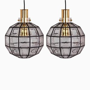 Large Iron and Clear Glass Lights by Glashütte Limburg, 1965, Set of 2