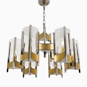 Kronleuchter aus Chrom & Glas mit Neun Leuchten von Gaetano Sciolari, 1960er