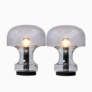 Lampes de Bureau Mushroom en Verre Fumé de Glashütte Limburg, 1969, Set de 2