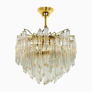 Lámpara de araña grande de cristal de tres pisos de Venini, años 60