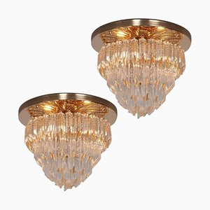 Italian Four-Tiered Murano Glass Astra Quadrilobo Chandeliers from Venini, 1960s, Set of 2