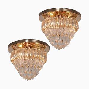 Lámpara de araña Astra Quadrilobo italiana de cristal de Murano de cuatro pisos de Venini, años 60. Juego de 2