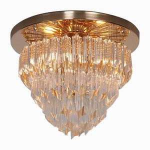 Italian Four-Tiered Astra Quadrilobo Murano Glass Chandelier from Venini, 1960s
