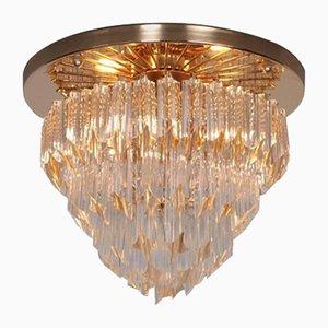 Lámpara de araña Astra Quadrilobo italiana de cristal de Murano de cuatro pisos de Venini, años 60