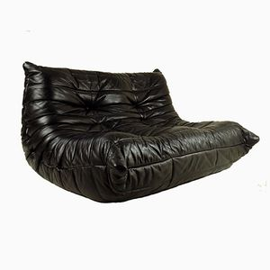 Black Leather Togo Sofa by Michel Ducaroy for Ligne Roset, 1970s