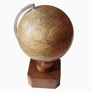 Vintage French Art Deco Illuminated Globe on Wooden Base from Girard, Barrère, & Thomas